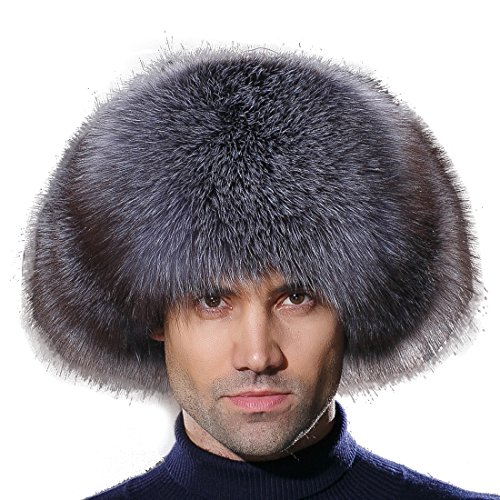 URSFUR Mens Russian Ushanka Hat Real Leather & Silver Blue Fox Fur Trapper Cap