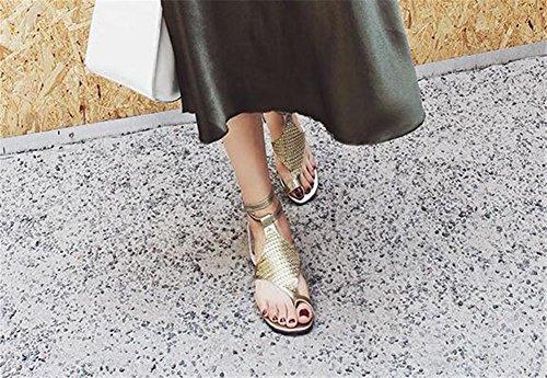 YEEY Sandalias de verano flip flops correas planas tanga t-strap zapatos de perlas sandalias de pedrería para mujeres Gold