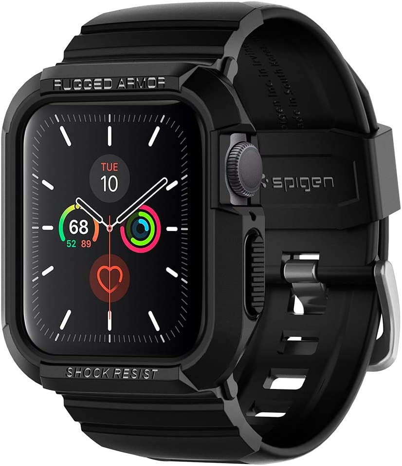 Spigen Rugged Armor Pro Designed for Apple Watch Band with Case for 40mm Series 6/SE/5/4 - Black