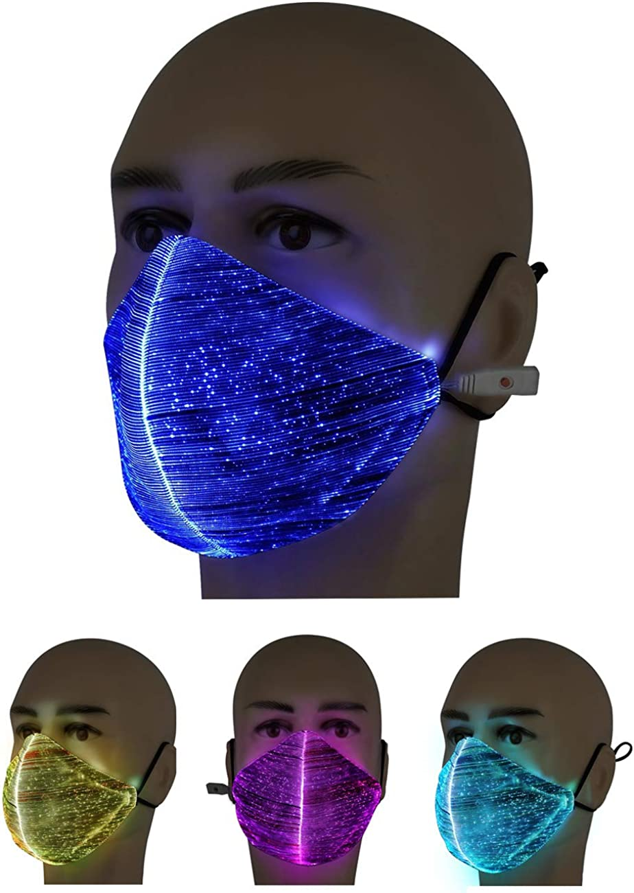 7 Color LED Light up Face Mask USB Rechargeable Glowing Luminous Mouth Covers