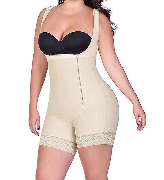 4461b98bc92f3 RIBIKA Body Shaper for Women Shapewear Tummy Control Underwear Bodysuits  with Zipper Black  Amazon.co.uk  Clothing