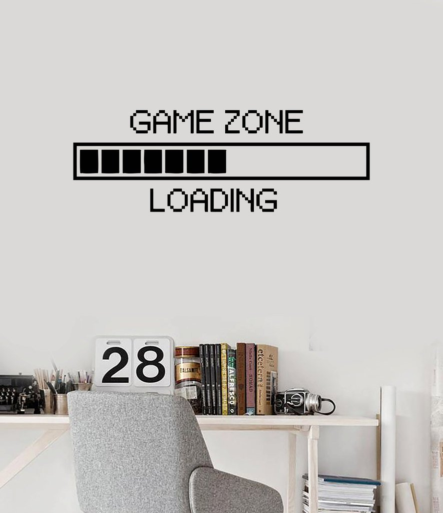 N.SunForest Children's Room Vinyl Wall Decal Game Zone Loading Quotes Gamer Computer Game Play Room Wall Decoration