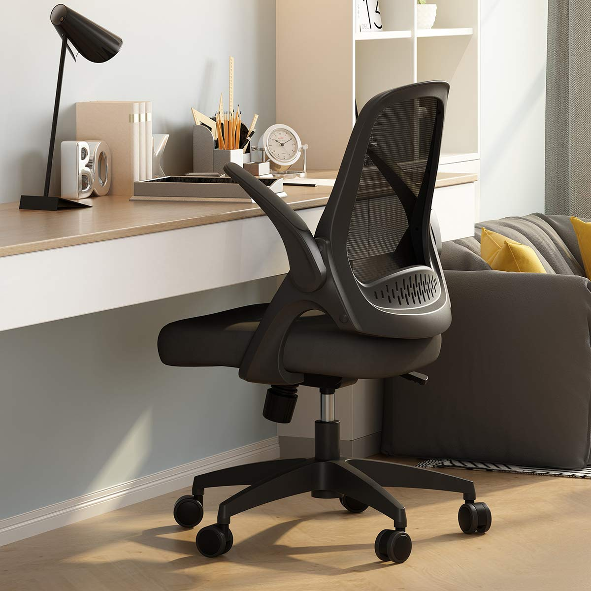 Hbada Modern Desk Comfort Swivel Home Office Task Chair with Flip-up Arms and Adjustable Height, Black by Hbada
