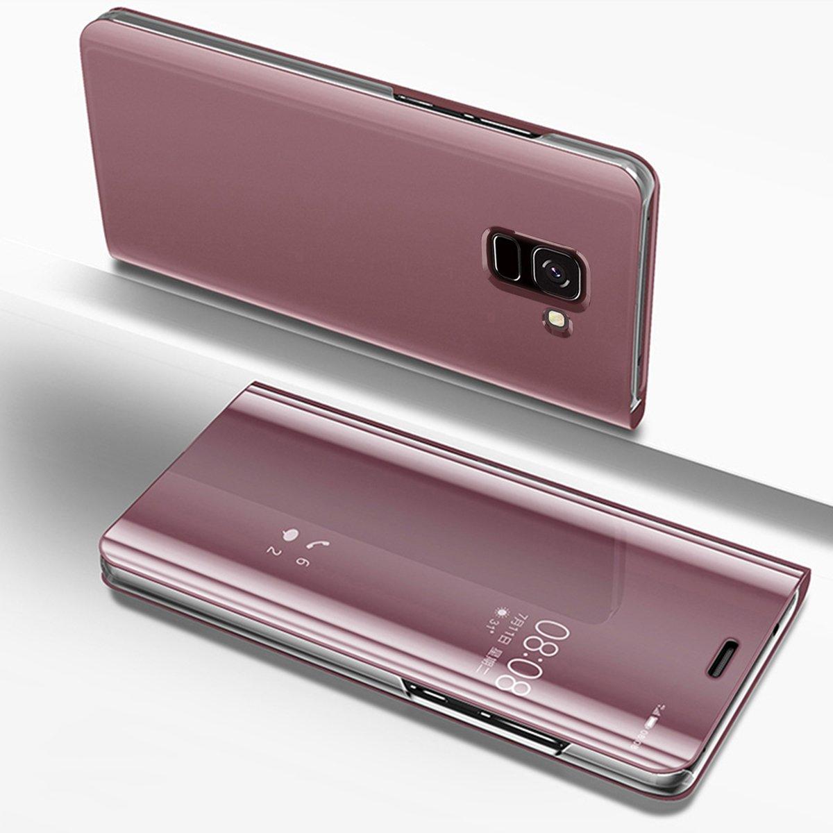 PHEZEN Galaxy J6 2018 Case,Luxury Mirror Makeup Case Plating PU Leather Flip Folio Wallet Case [Kickstand] Magnetic Closure Full Cover Case for Samsung Galaxy J6 2018 (Rose Gold)