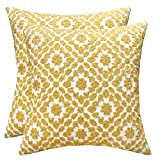 SLOW COW Cotton Embroidery Decor Throw Pillow Covers Yellow Decorative Cushion Covers, 18x18 Inches, Set of 2.