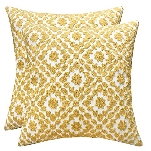 SLOW COW Cotton Embroidery Decor Throw Pillow Covers Yellow Decorative Cushion Covers, 18x18 Inches, Set of 2. by SLOW COW