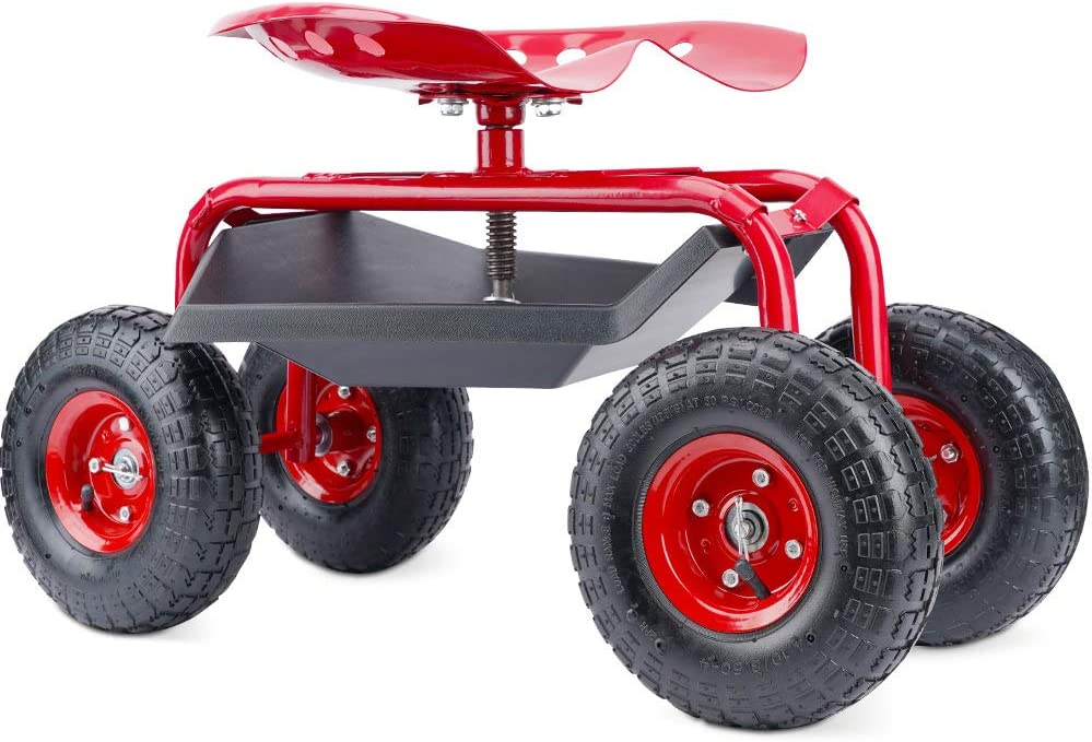 G GOOD GAIN Garden Cart with Seat and Wheels Rolling Garden Stool. 4-Wheel Rolling Gardening Work Seat Outdoor Lawn Yard Patio Wagon Scooter for Planting, Adjustable 360 Degree Swivel Seat. Red