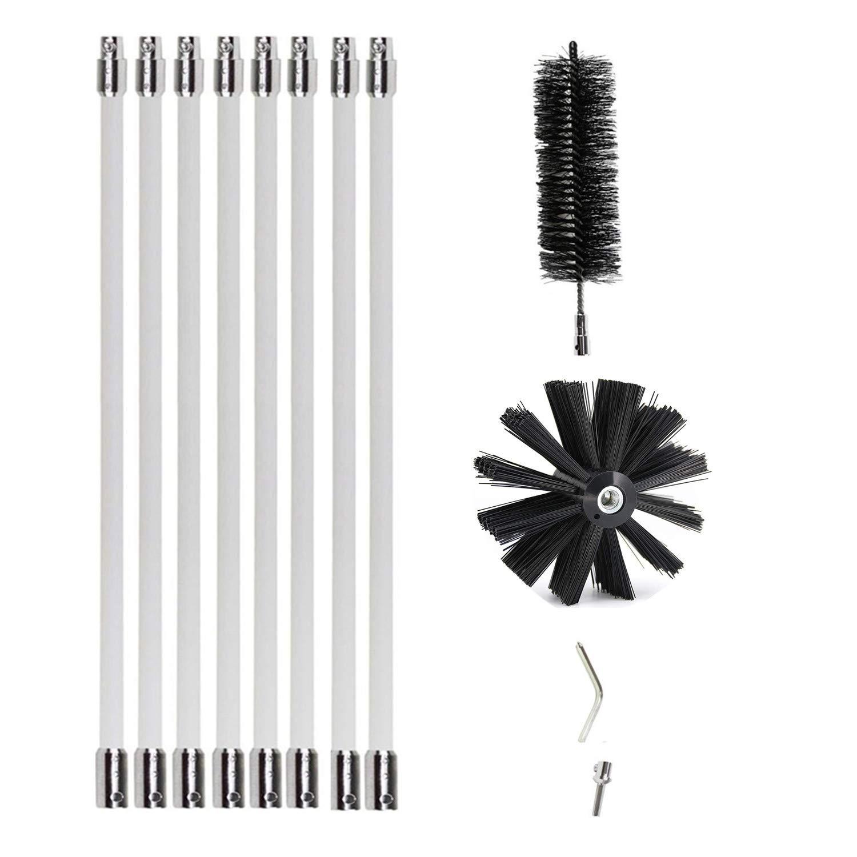 Flexible Dryer Duct Cleaning Kit,Lint Vent Cleaner(16ft, 8 rods) Reinforced Nylon Rotary Dryer Brush