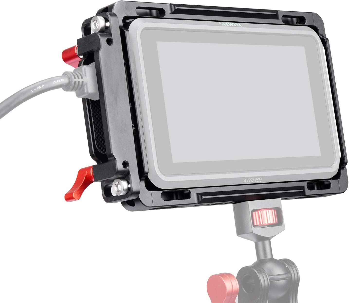 ANDYCINE Monitor Cage with Sunhood for Atomos Nijna V,Atomos Shinobi,Built-in NATO Rails and HDMI Cable Clamp