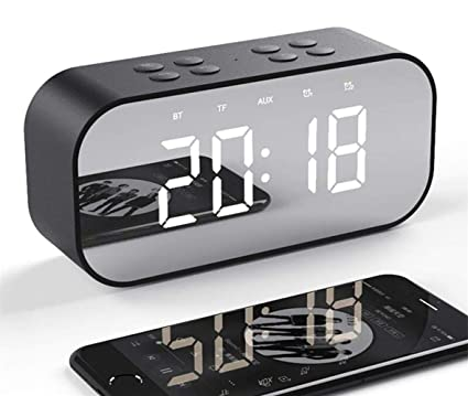 Tanouve Despertador con Altavoz Bluetooth Inalámbrico, 2000mAh Recargable Digital Reloj Despertador Espejo con Tiempo/Alarmas Dobles/Micrófono/Brillo ...