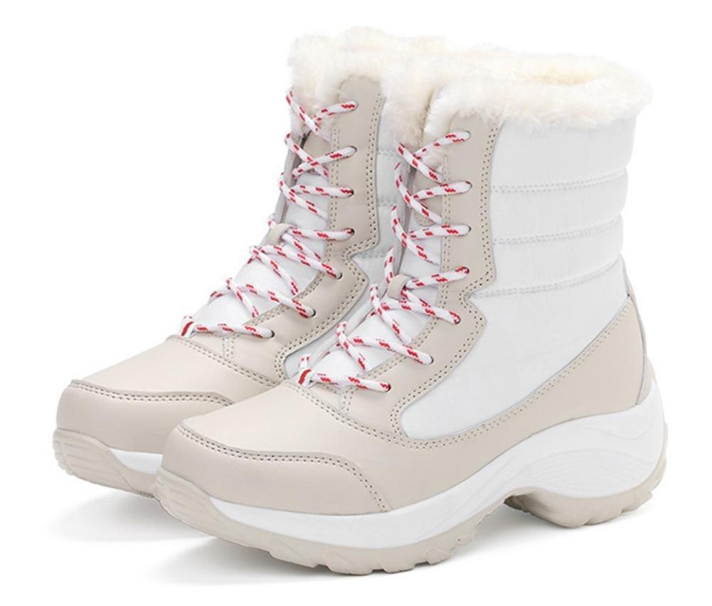 NVXIE Mujeres Zapatillas Nieve Botas Tobillo Negro Plano con Cordones Cuero Zapatos Grueso Fondo Antideslizante Impermeable Invierno Al Aire Libre, EUR 40/UK 7 APRICOT-EUR40UK7