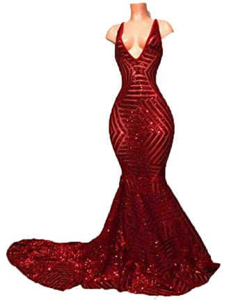 olise bridal Sexy V-Neck Off-Shoulder Mermaid Prom Dress Red Crystal Formal Evening