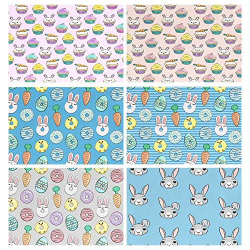 YOULUCK-7 Placemats Set of 6, Easter Cupcakes Bunny Chicks Donuts Bunnies Carrots Eggs - Blue Dining Table Mats for Home Kitchen - Carrot Bunny Cake