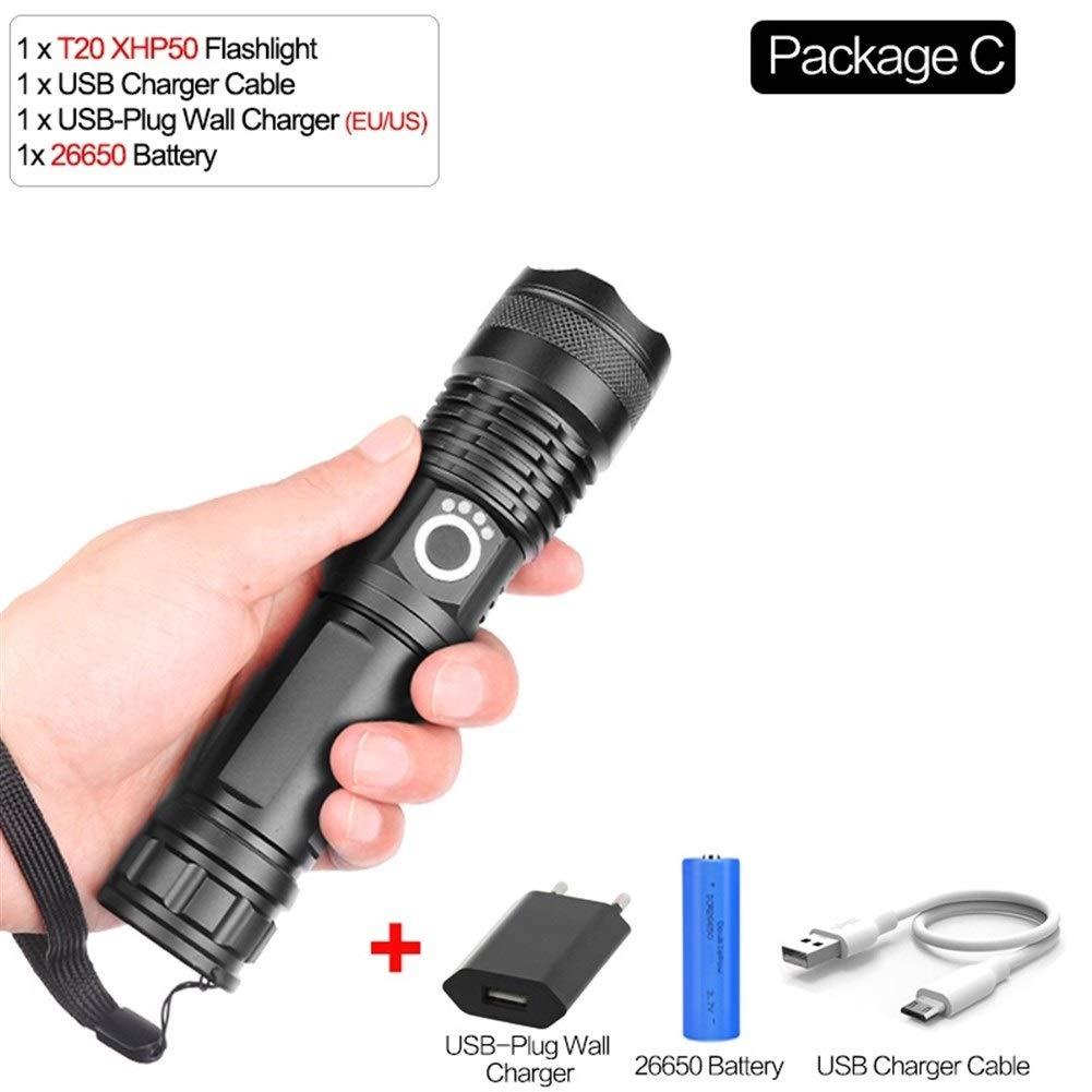 Package C  YANODA 50000 LuPour des hommes Lampe Xhp70.2 Plus Puissant Lampe De Poche USB Zoom LED Torche Xhp70 Xhp50 18650 Ou 26650 Batterie Camping en Plein Air