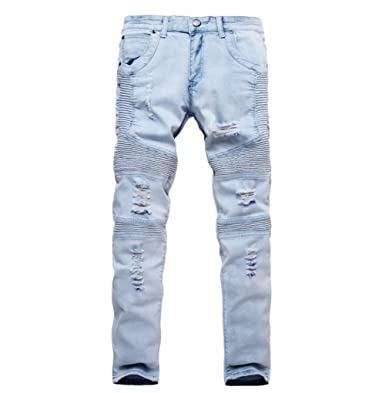 9eef57cc Men's Skinny Ripped Fit Zipper Jeans Jogger Pants Stretch Washed Straight  Pencil Pants with Broken Holes