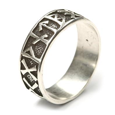 Gothic Ring Runen 925 Sterlingsilber Herrenring Ausgefallener