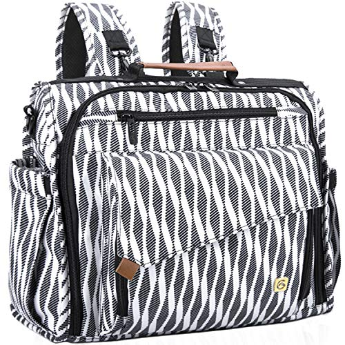 ALLCAMP Zebra Diaper Bag Large, Support Baby Stroller, Converted Into a Tote Bag, Black and White … by ALLCAMP