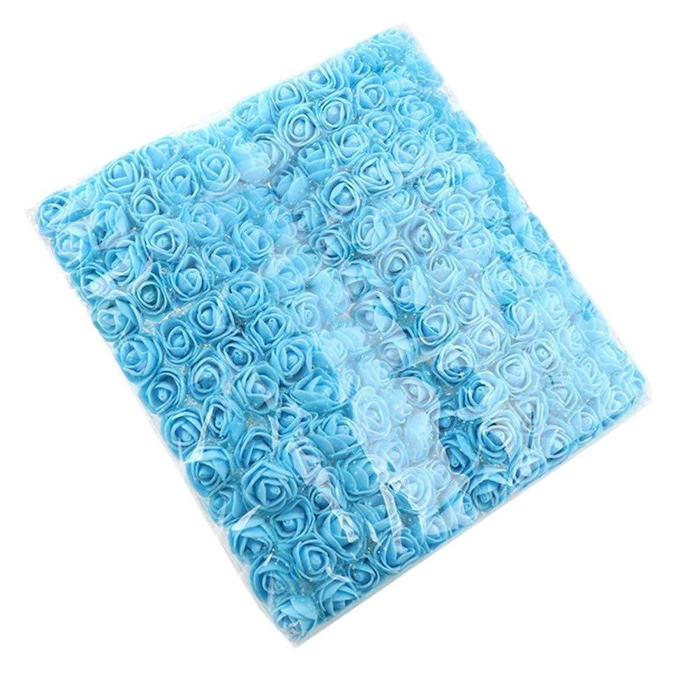 Labife ミニフォームローズ 造花 ホーム ウェディング カーデコレーション DIY ポンポン リース 装飾ブライダルフラワー 144個/パック ブルー HG04725-BL B07G998DFD ブルー