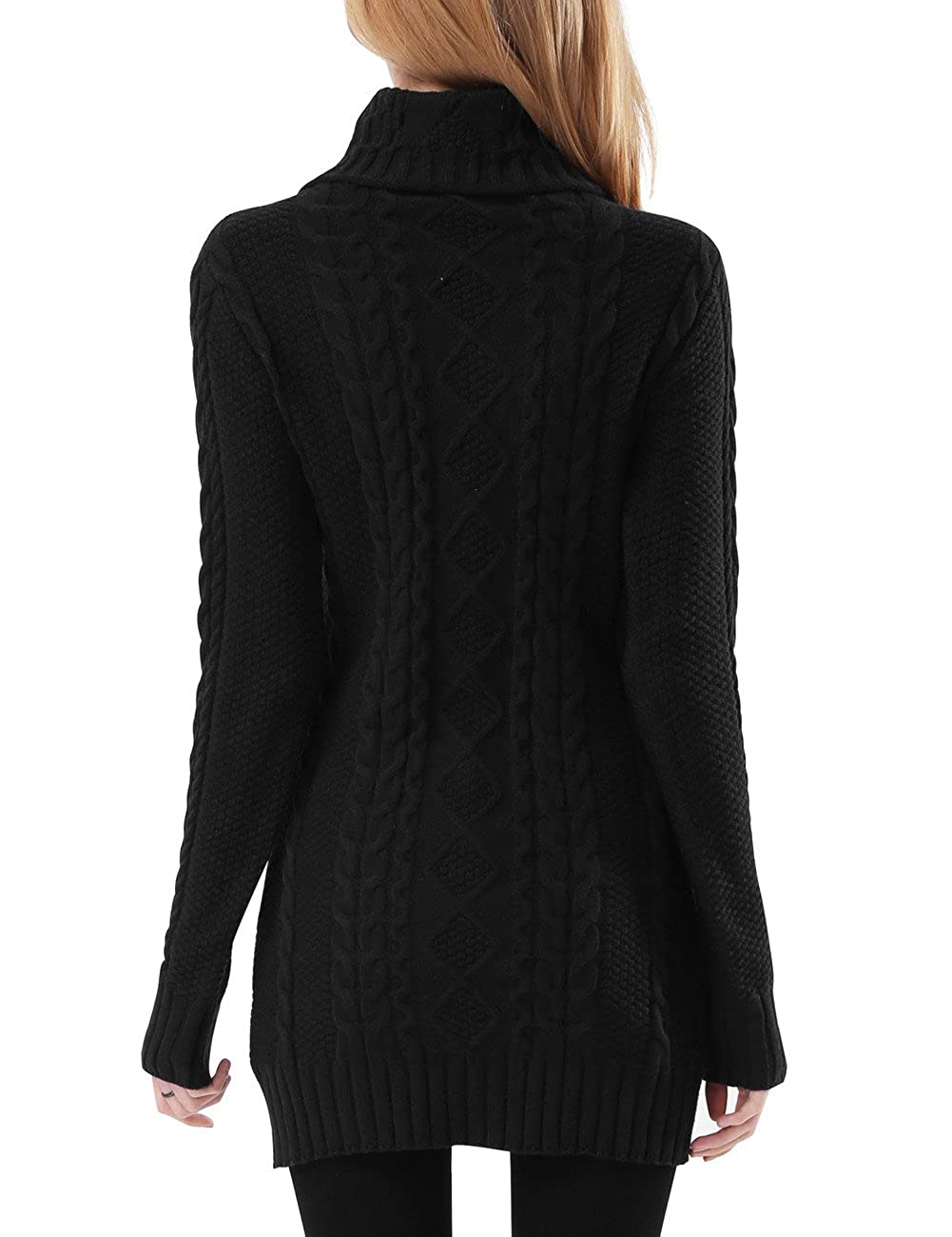c8c327726 Rocorose Women s Turtleneck Long Sleeves Cable Knit Long Sweater at ...