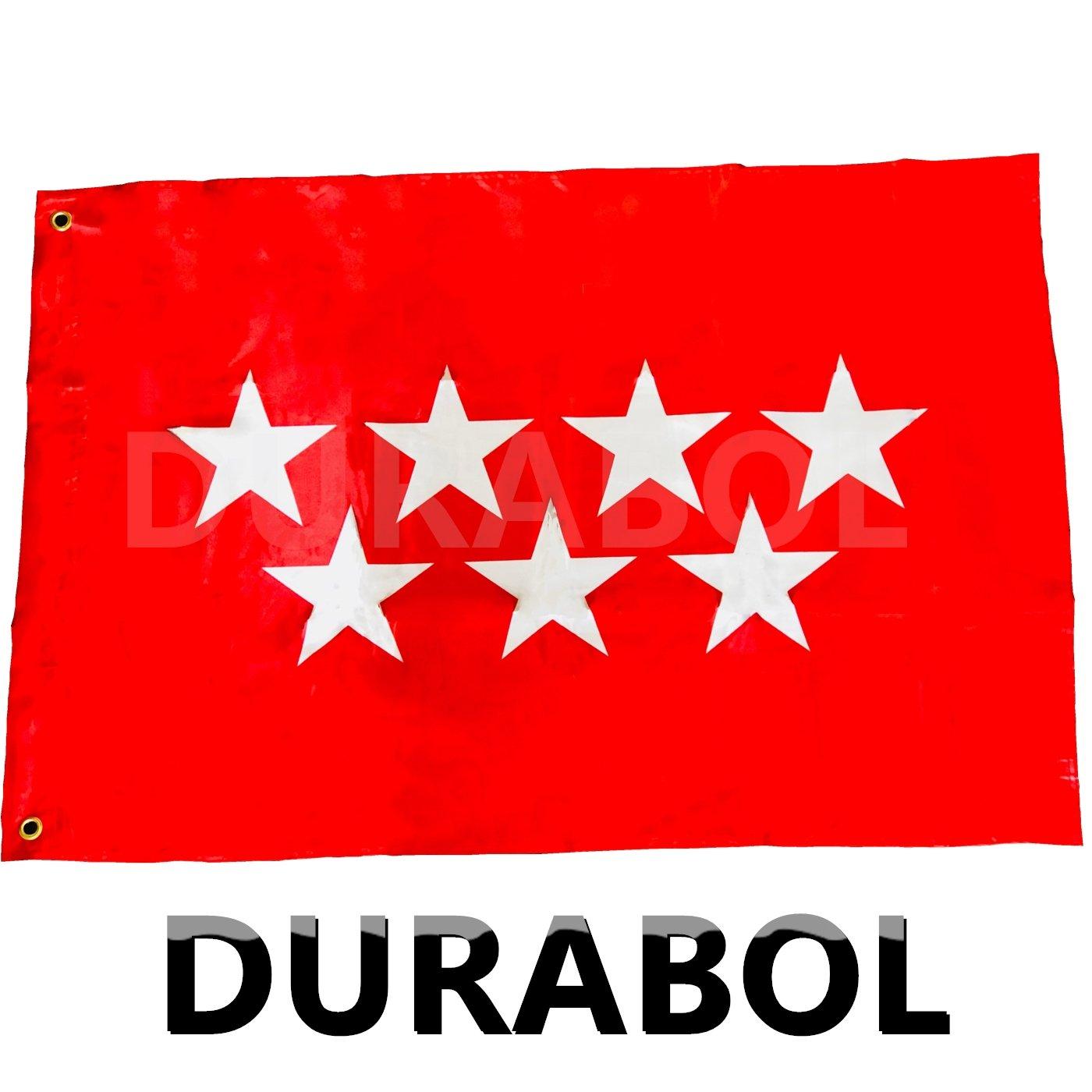 DURABOL Bandera de Madrid Comunidades autónomas de España 60*90 cm SATIN 2 anillas metálicas fijadas en el dobladillo (MADRID): Amazon.es: Jardín