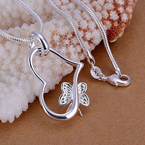 Triquetra Cast - 1pc Women Silver Plated Chain Butterfly Heart Necklace with Pendant BT5S