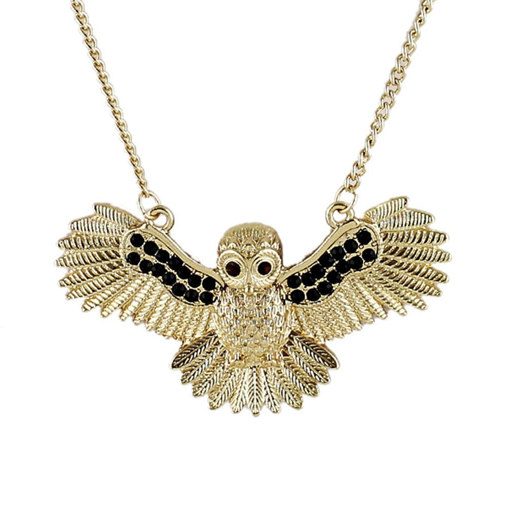 Feelontop® Gold Plated White Black Rhinestone Flying Eagel Long Pendant Necklace with Jewelry Pouch NC-5320-BLACK