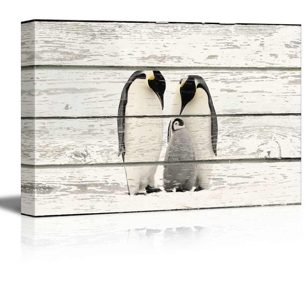 Rustic Penguin Family - Canvas Art