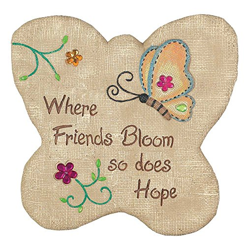 Friends Bloom Hope Burlap 11 x 11 Inch Butterfly Shaped Cement Garden Stepping Stone