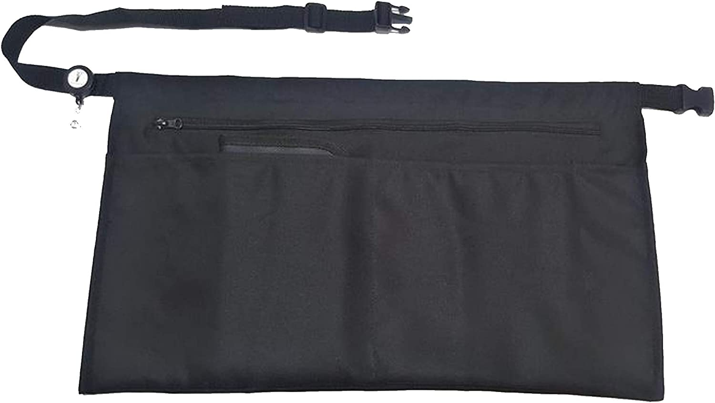 5 Pockets Black Waist Apron (22x13 inches). Clip-on Server Apron with Zipper pocket. Restaurant Half Aprons Waitress, Waiter, Server, Bartender, Busser, Barista, Money Apron, Check Holder, Organizer