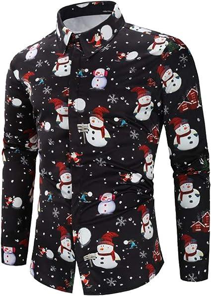 SoonerQuicker Camisas Hombre Manga Hombres Casual Tema de Navidad Botón de Camisa Superior Blusa - 2019 última Camisa Casual cómoda, Negro,XXXL: Amazon.es: Ropa y accesorios