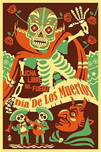- Dia de los Muertos (Day of the Dead) - Lucha Libre del Fuego (12x18 Art Print, Wall Decor Travel Poster)