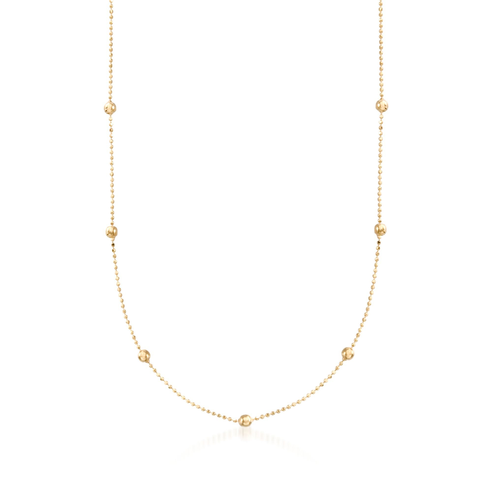 Ross-Simons 2mm 14kt Yellow Gold Bead Station Necklace