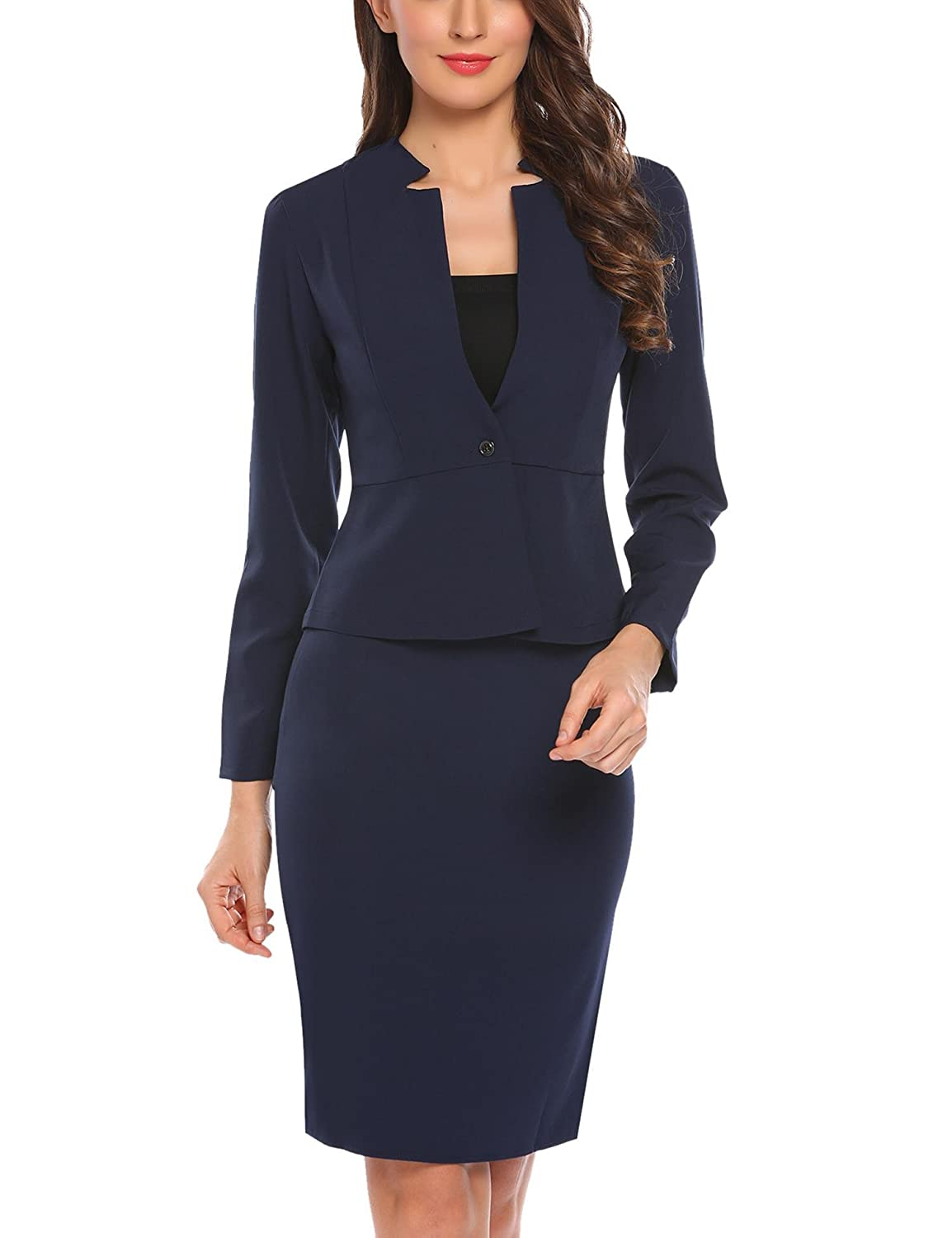 Angvns Women S 2 Piece Long Sleeve Office Lady Blazer And Skirt Suit