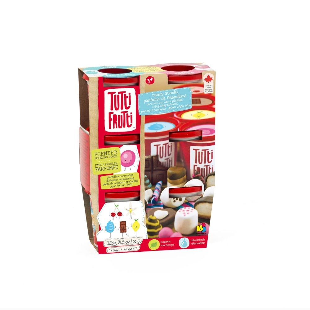 /Tutti Frutti Scented Play-Dough Pack 6/Jars Candy bjtt00161 Rocco Toys/