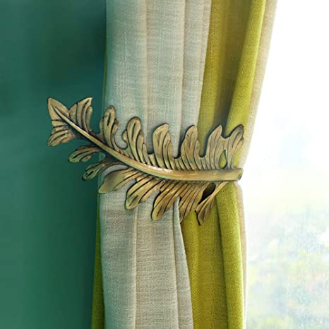 Pair of 2 U Shaped Curtain Holdbacks Tiebacks Brushed Brass Colored Metal Leaves