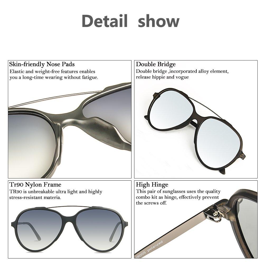 031a078e188 JOJEN Fashion Polarized aviator Sunglasses for men women Metal TR90 TAC  JE0013(Black Frame Thick Mercury