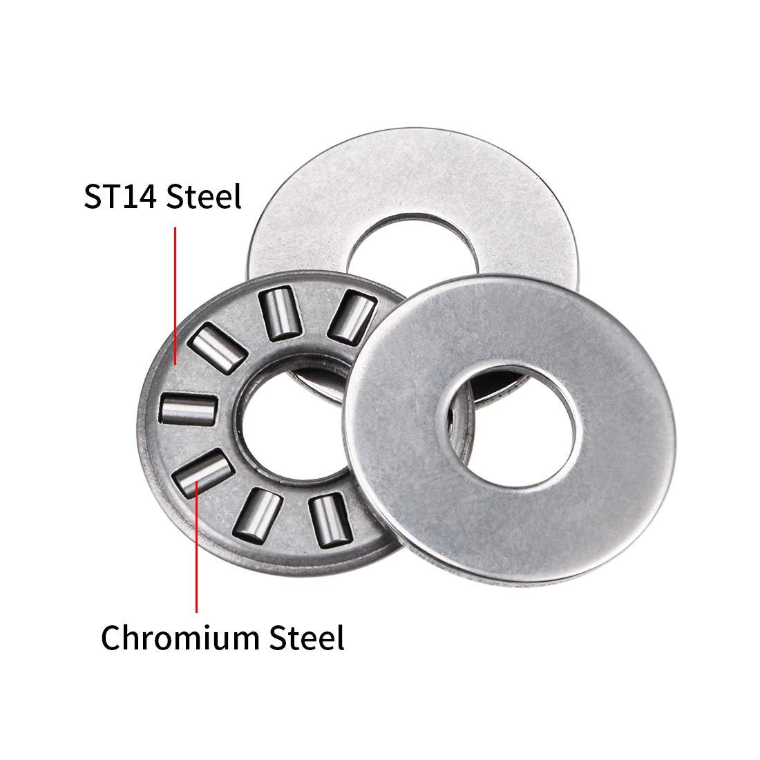 sourcing map TC411 Thrust Needle Roller Bearings with Washers 1//4 Bore 11//16 OD 5//64 Width 3pcs