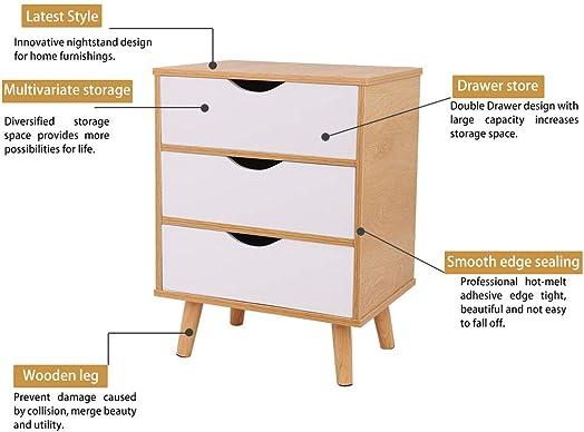 Storage Cabinet Bedroom Bedside Locker North American Modern Minimalist Nightstand Bedside Cabinet Locker Three Drawer and Solid Wood Legs White