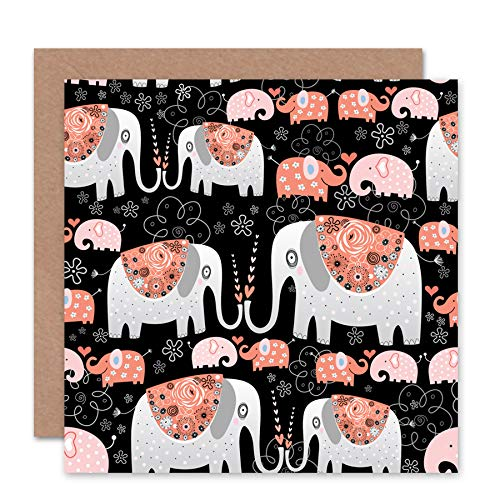 Price comparison product image Wee Blue Coo NEW LOVE ELEPHANT STYLIZED ROMANCE VALENTINES DAY BLANK BIRTHDAY CARD CS137