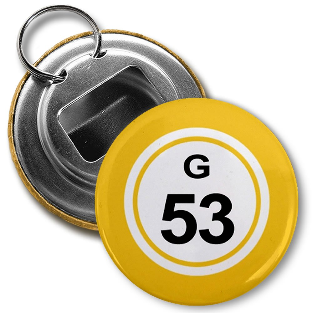 BINGO BALL G53 FIFTY-THREE YELLOW 2.25 inch Button Style Bottle Opener with Key Ring