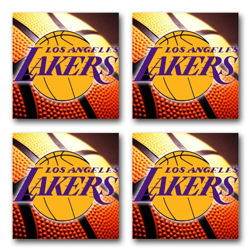 Bar Basketball - Lakers Basketball Rubber Square Coaster set (4 pack) Great Gift Idea Los Angeles