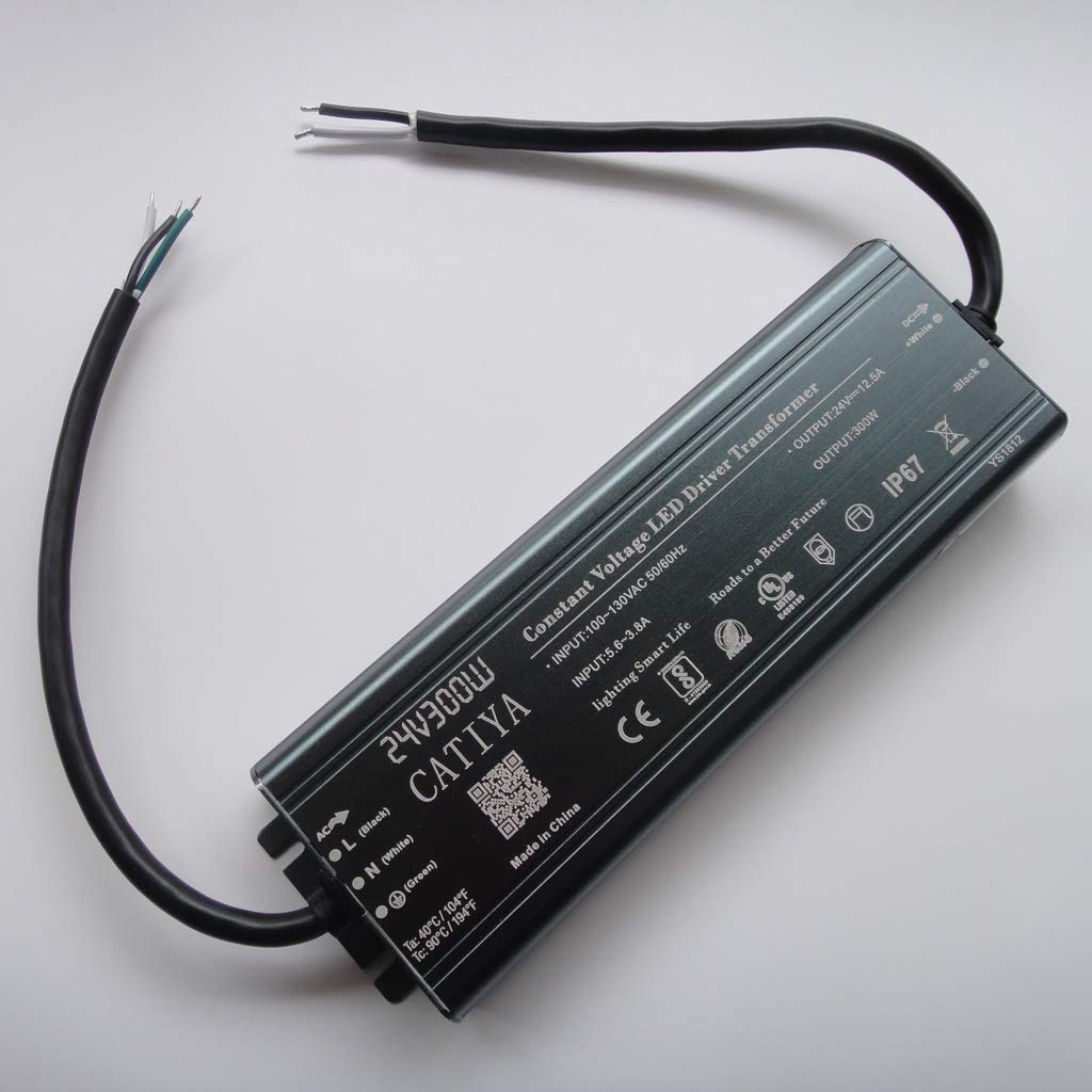 CATIYA 24V 300W LED Driver Transformer, IP67 Waterproof Constant Voltage Power Supply for Low Voltage LED Lighting