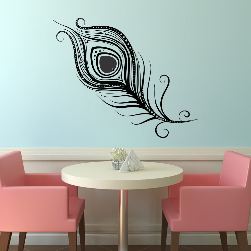 Buy Impression Wall Decor Peacock Feather Design Wall Sticker Cover Area 27 X 22 Inch Online At Low Prices In India Amazon In