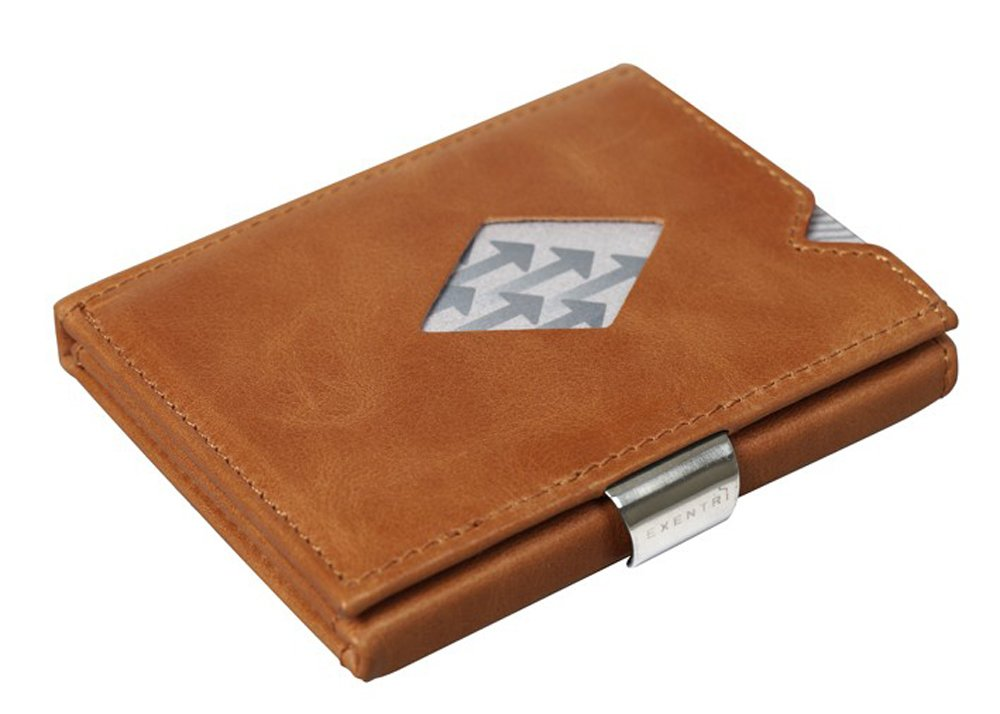 EXENTRI Trifold Leather Wallets w/RFID & Stainless Steel Locking Clip (Cognac)