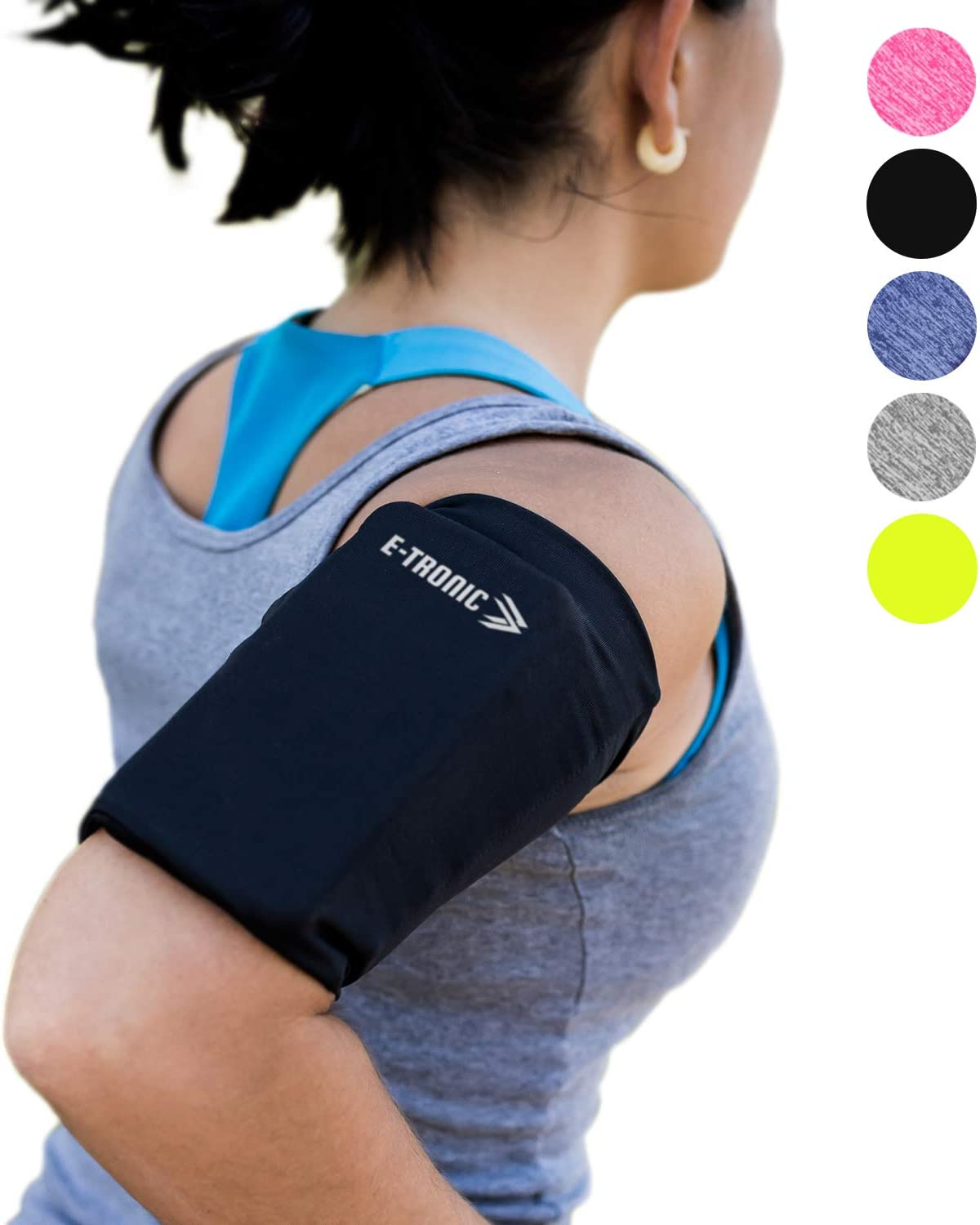 Phone Armband Sleeve: Best Running Sports Arm Band Strap Holder Pouch Case for Exercise Workout Fits iPhone X XS 6S 7 8 Plus iPod Android Samsung Galaxy S6 S7 S8 Note 4 5 6 7 Edge LG HTC Pixel Large