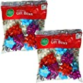 Berwick 25-Count Shiny Pattern Christmas/Holiday Peel n' Stick Gift Wrap Bows, Assorted Colors