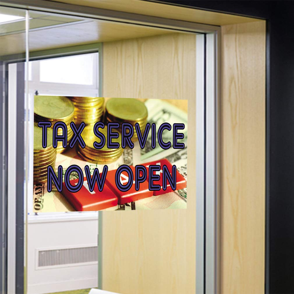 Set of 5 45inx30in Decal Sticker Multiple Sizes Tax Service Now Open #1 Style A Business Tax Service Now Open Outdoor Store Sign Golden