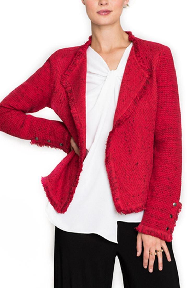 Nic+Zoe Women's Fringe Mix Blazer Jacket - True Red - XL