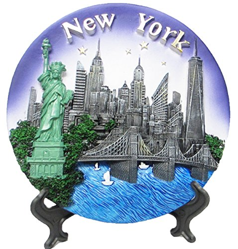 Plate Souvenir Wall (Lisa NY New York Souvenir 3D Polyresin Plate 8 Inches Diameter)