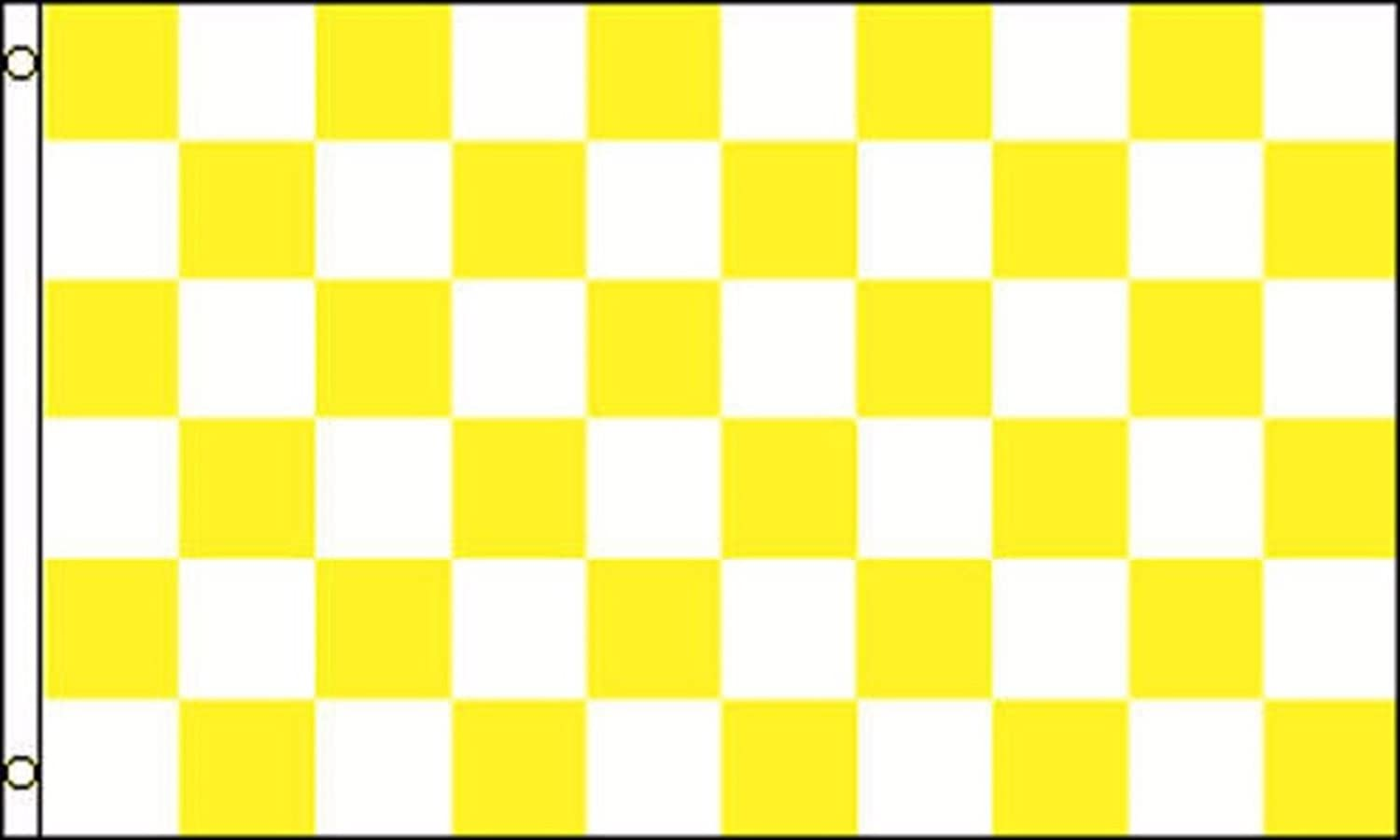 YELLOW GOLD and WHITE CHECK FLAG 5/' x 3/' Checkered